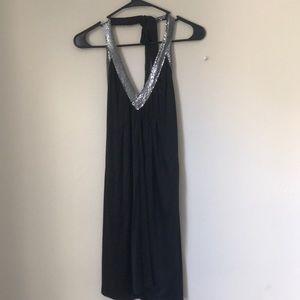 BCBG Black Sequin Halter Acetate Dress